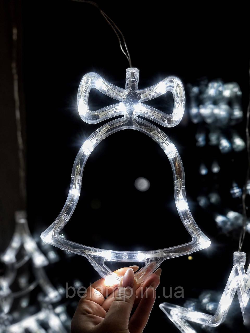 """Новорічне світиться прикраса на вікно """"Білий дзвіночок"""". ціна за 1 дзвіночок"""