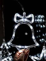 """Новорічне світиться прикраса на вікно """"Білий дзвіночок"""". ціна за 1 дзвіночок, фото 1"""