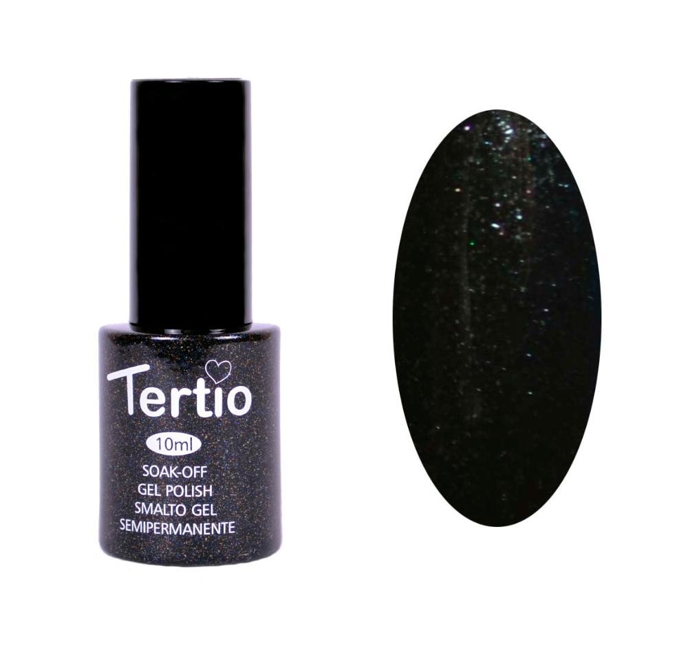 Гель-лак №054 Tertio, Черно-зеленый с микроблеском