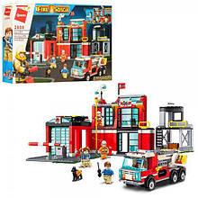 КОНСТРУКТОР QMAN 2808 пожарный, участок, машина, фигурки, 523 детали, в коробке.