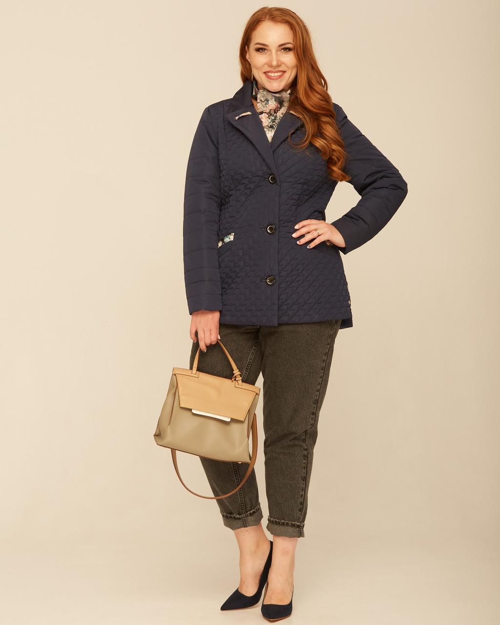 Жіноча БАТАЛЬНА куртка з шарфом із 48 з 60 розмір Темно-синя