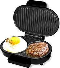 Электрический контактный прижимной гриль колетница DSP KC 1124 с прессом для бургеров, аппарат для гамбургеров