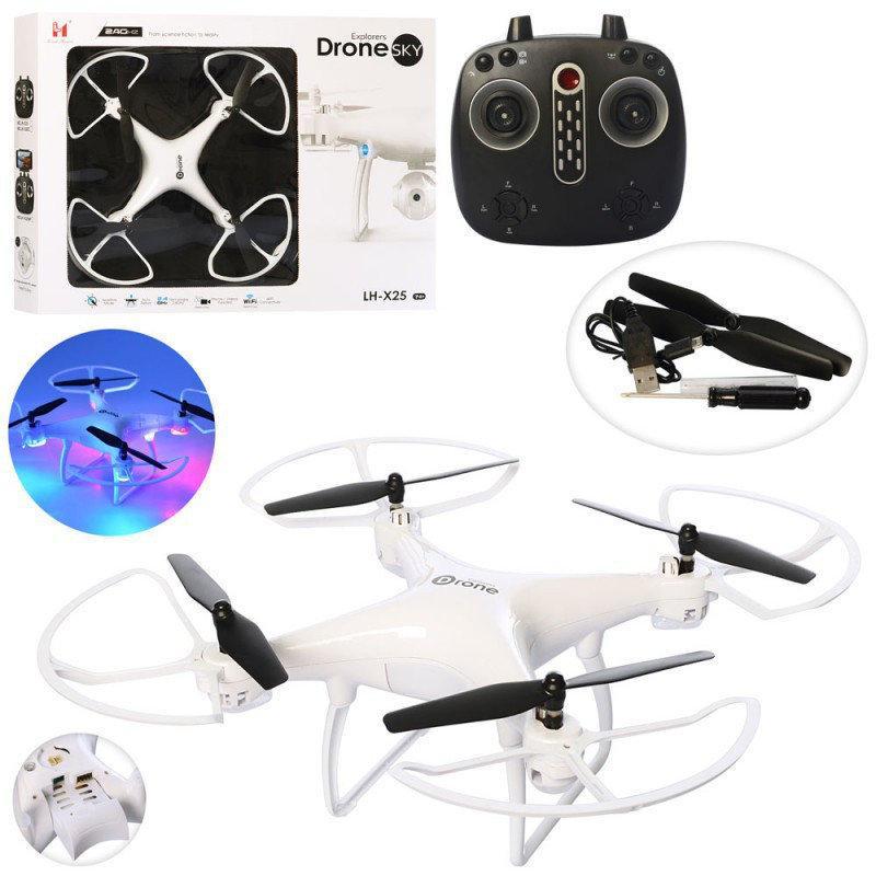 Складной квадрокоптер Sky Dron LH-X25 c WiFi и HD камерой, на пульте, радиоуправляемый коптер (летающий дрон)