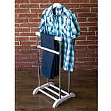 Вешалка для одежды напольная Комфорт 2 в минималистическом стиле. Стойка для одежды из массива березы, фото 10