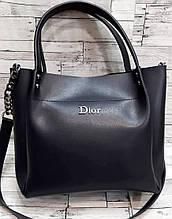 Женская черная сумка Dior из эко-кожи с ремешком на цепочке 26*24 см