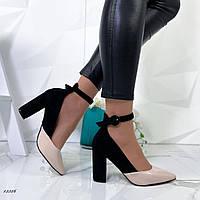 Туфли женские классика,черно+бежевые