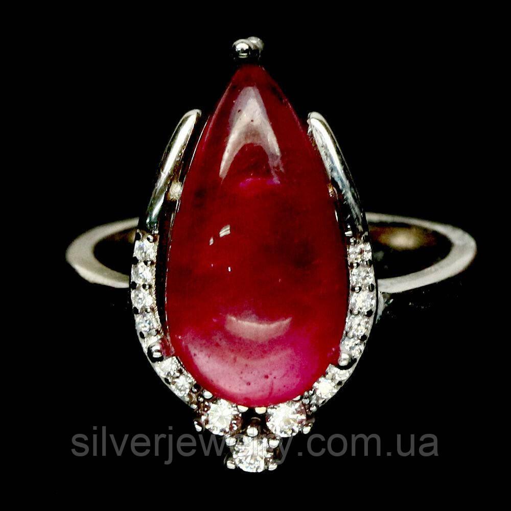 Серебряное кольцо с РУБИНОМ  (натуральный), серебро 925 пр. Размер 18