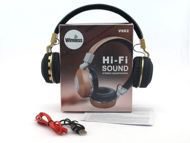 Беспроводные наушники на аккумуляторе с Bluetooth MP3 и FM-приемником V682. Гарнитура для телефона и ПК