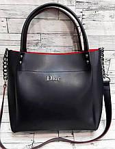 Женская черная с красным сумка Dior из эко-кожи с ремешком на цепочке 26*24 см