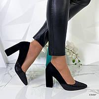Туфли женские классика, замшевые черные