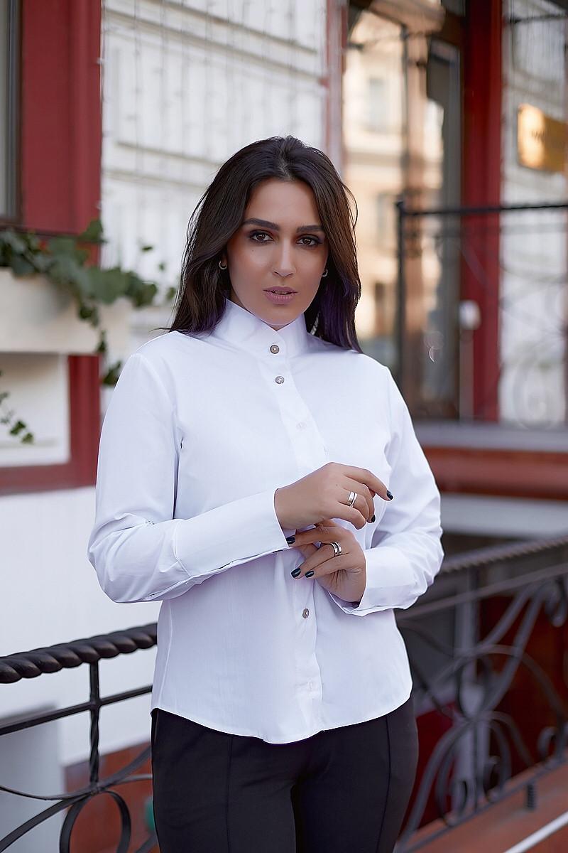 Жіноча ділова класична біла сорочка на гудзиках з коміром стійкою, батал великі розміри