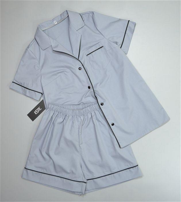 Хлопковая пижама женская рубашка и шорты ТМ Este серая.