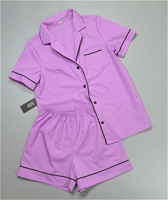 Хлопковая пижама женская рубашка и шорты ТМ Este лиловая.