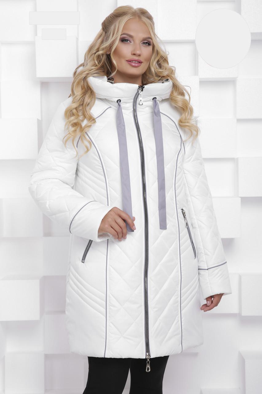 Зимова БАТАЛЬНА куртка з 50 по 68 розмір Білий