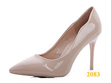 Туфли лодочки на невысоком каблуке бежевые 36, 38, 40 р. (2083)