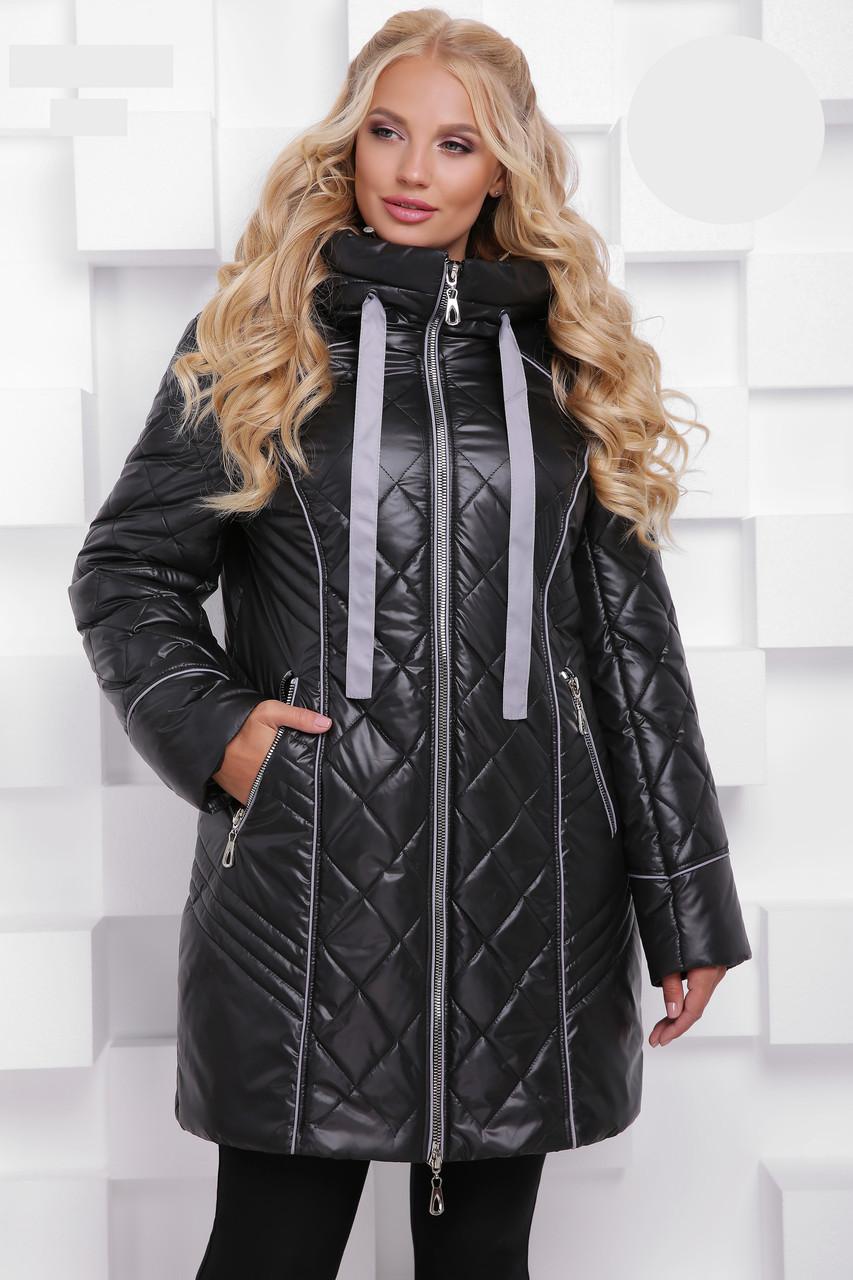 Зимова БАТАЛЬНА куртка з 50 по 68 розмір Чорний,