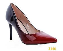 Туфли лодочки омбре черные с красным каблук 9 см 35, 36, 37, 38, 40 р. (2146)