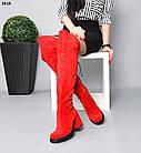 Демісезонні жіночі червоні ботфорти на обтяжном підборах, натуральна замша 36 40 ОСТАННІ РОЗМІРИ, фото 5