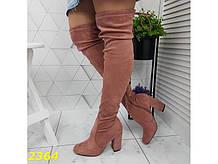 Ботфорты сапоги чулки демисезон пудровые замшевые на широком удобном каблуке 38 р. (2364)
