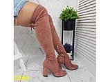 Ботфорты сапоги чулки демисезон пудровые замшевые на широком удобном каблуке 38 р. (2364), фото 3