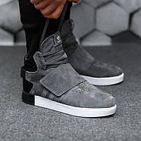 Мужские кроссовки Adidas Tubular зимние мужские кроссовки Адидас с мехом, серые, замшевые