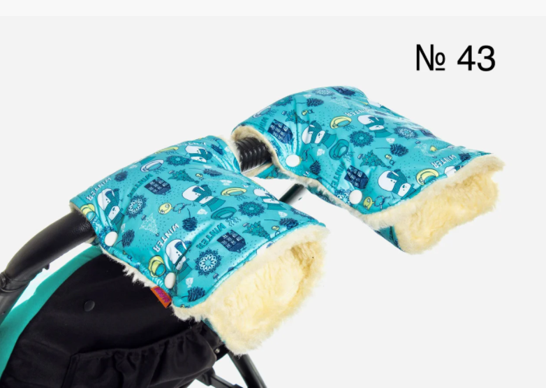 Рукавицы-муфта голубого цвета со снеговиками