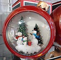 """Новогодний декор лампа - """"Ёлочная игрушка Снеговики семья"""" со снегом Snow Globe №32"""