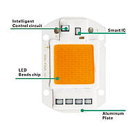Комплект Линза и Светодиодная фито матрица  для растений  LED COB 50вт 230в Full Spectrum, фото 5