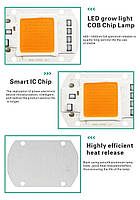 Комплект Линза и Светодиодная фито матрица  для растений  LED COB 50вт 230в Full Spectrum, фото 6
