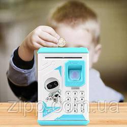 Детский сейф копилка с отпечатком пальца и кодовым замком | Копилка-сейф | Детская копилка сейф