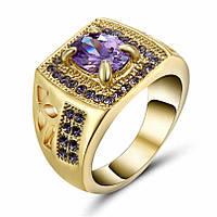 Изумительное кольцо, с роскошным фиолетовым аметистом, покрытое желтым золотом, размер 18 см