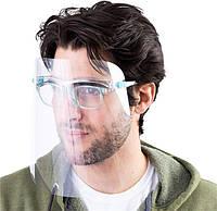 Захисний екран щиток для обличчя прозорий пластик на оправі зі складними дужками 165х195 мм FACE SHIELD Glasses