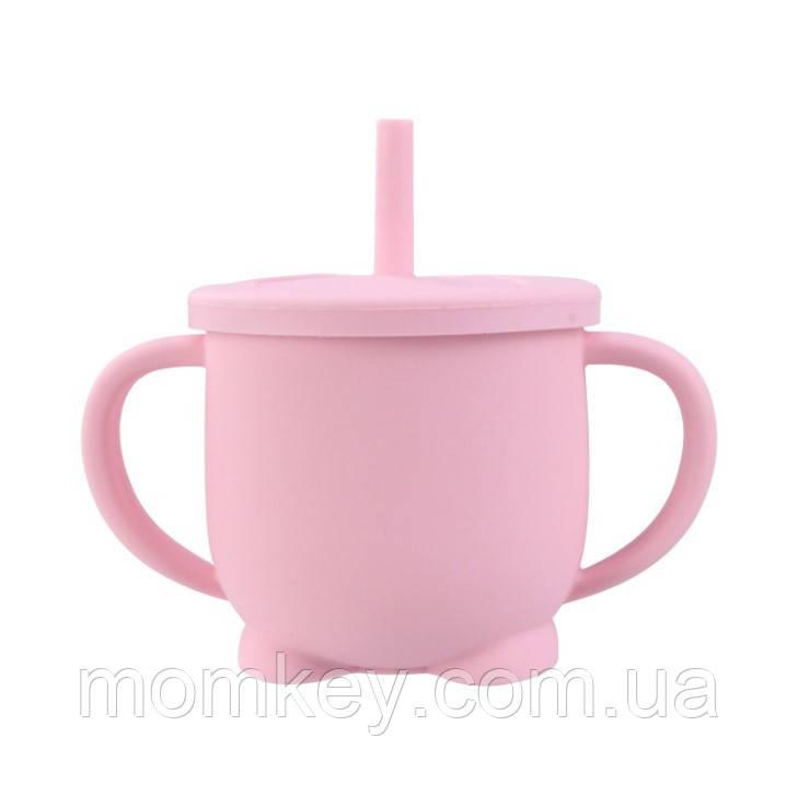 Поильник с трубочкой (розовый-кварц)