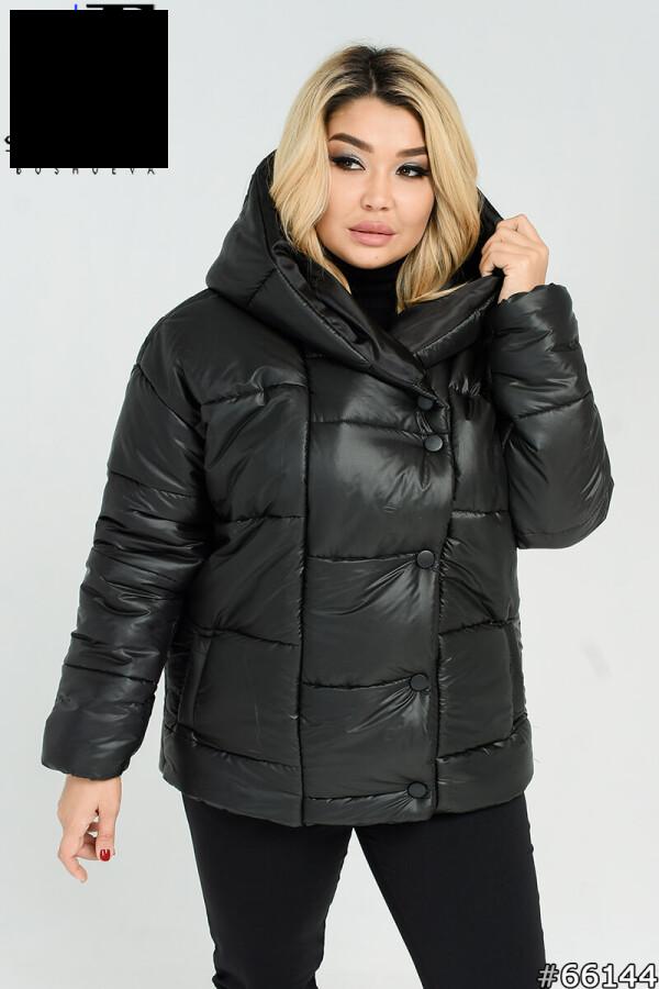 Куртка женская теплая короткая с капюшоном размеры: 50-60