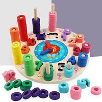 Развивающая деревянная интерактивная игрушка геометрика часы