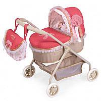 Детская классическая коляска для кукол и пупсов с корзиной для игрушек, отделана кружевом 86033, красная