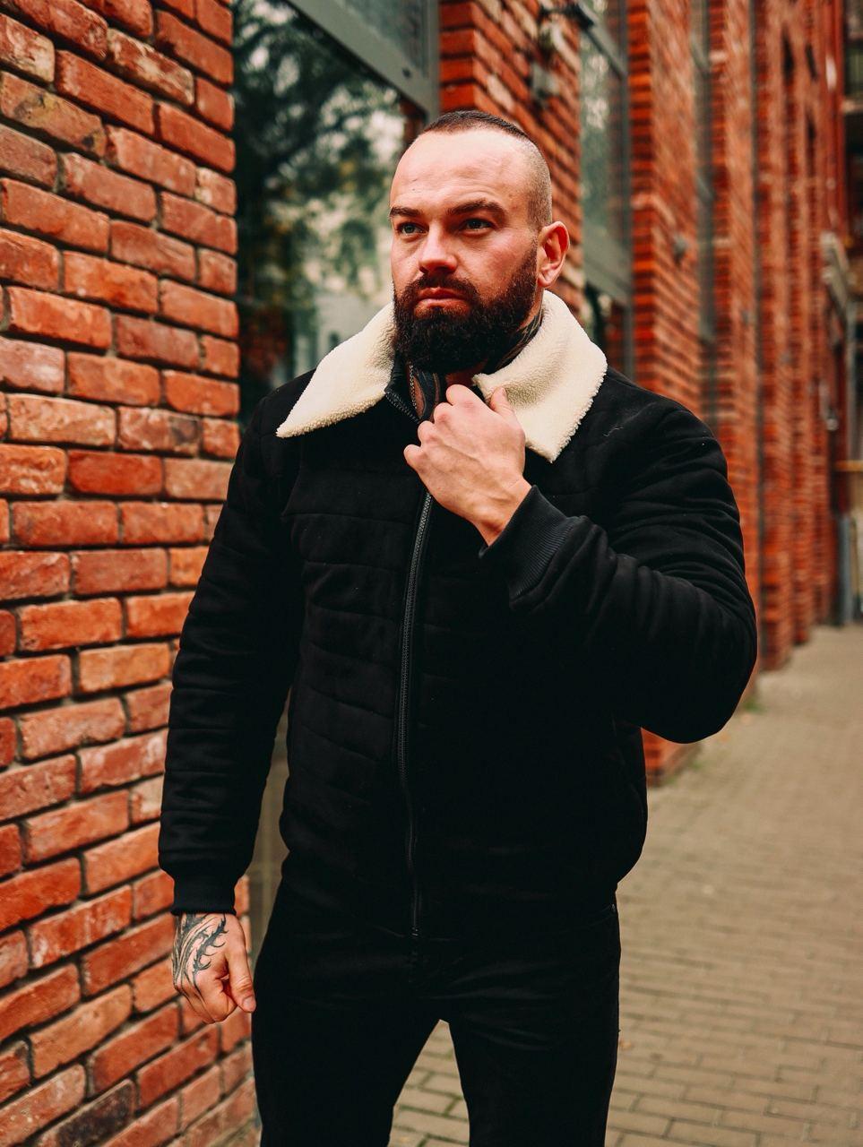 😜 Куртка Чоловіча Стьобаний замшева куртка з хутром чорна