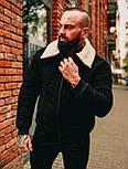 😜 Куртка Чоловіча Стьобаний замшева куртка з хутром чорна, фото 2