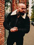😜 Куртка Чоловіча Стьобаний замшева куртка з хутром чорна, фото 3