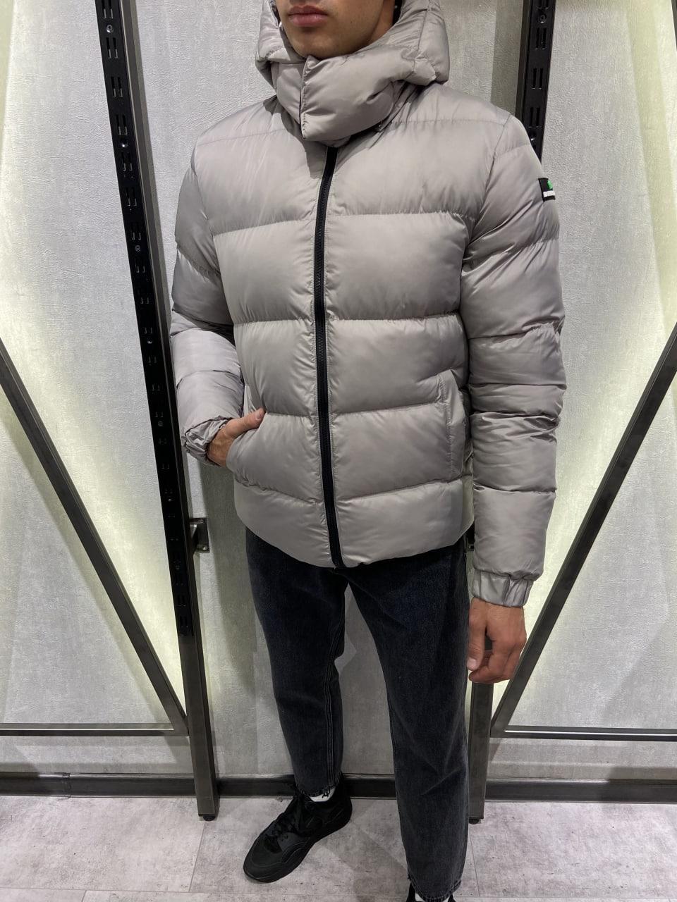 😜 Куртка Чоловіча куртка зимова з капюшоном світло сіра