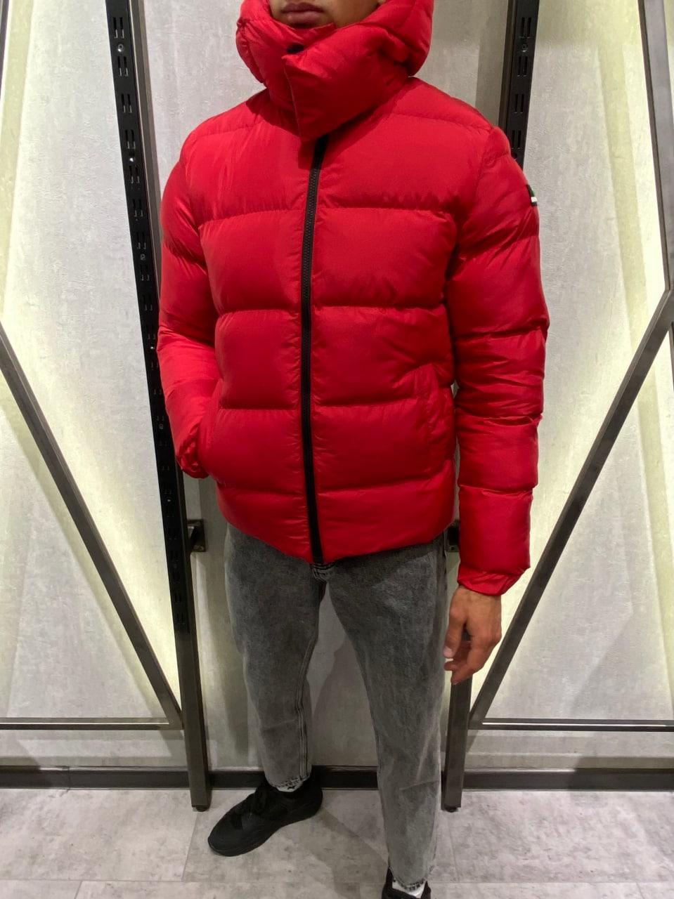 😜 Куртка - Мужская куртка зимняя с капюшоном красная