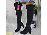 Ботфорты сапоги чулки демисезон замшевые на цилиндрическом широком каблуке 37, 38, 39 (2363), фото 6