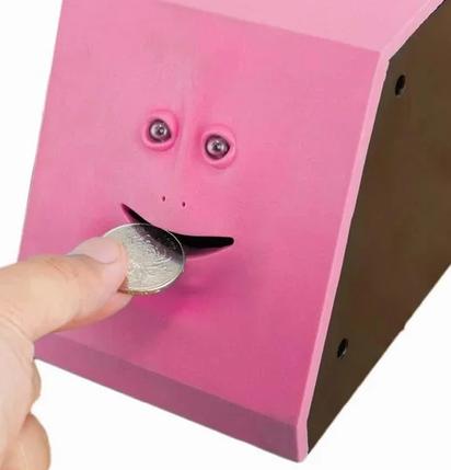Скарбничка Face piggy bank   Скарбничка жує монети   Скарбничка з особою, фото 2