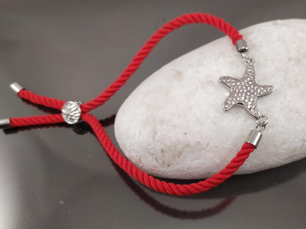 Браслет Морская звезда - символ достижения целей на красном шнурке, платина