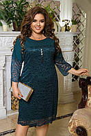 Женское нарядное платье большие размеры, гипюровое платье батал, кружевное платье