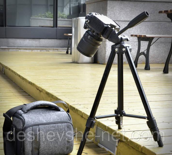 146 см. Универсальный штатив трипод FY608 для фото/видео c пузырьковым уровнем черный
