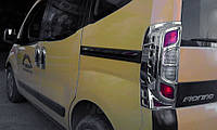 Накладка на стопы с изгибом (2 шт, пласт) Fiat Fiorino/Qubo 2008↗ гг. / Накладки на фонари Фиат Кубо, фото 1