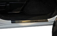 Накладки на пороги (Omsa, 4 шт, нерж.) Nissan Qashqai 2007-2010 гг. / Накладки на пороги Ниссан Кашкай