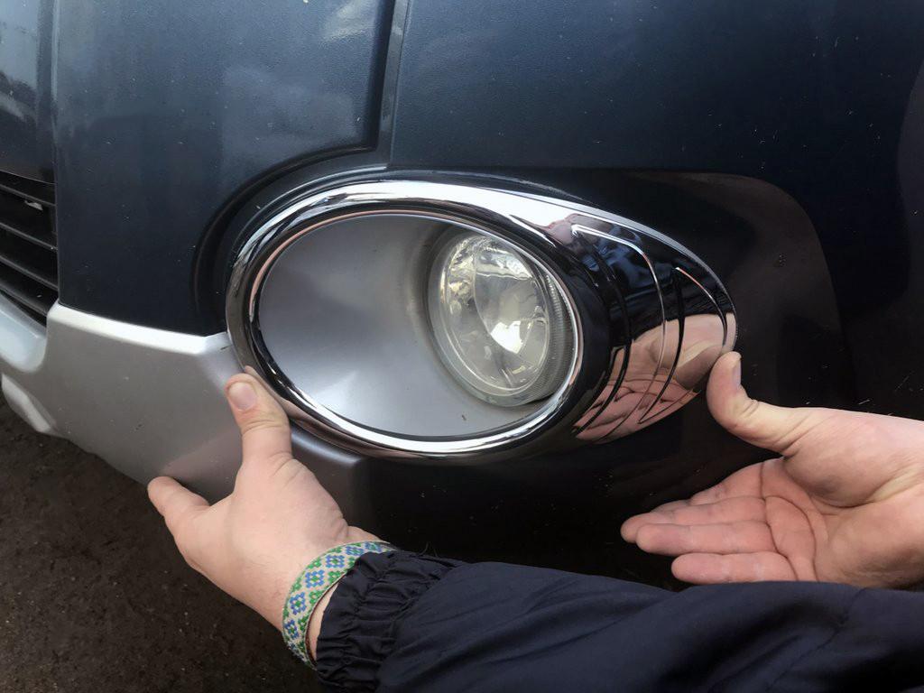 Окантовка противотуманок (2 шт, пласт) Peugeot Partner Tepee 2008-2018 гг. / Защитные (хром) накладки на