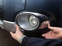 Окантовка противотуманок (2 шт, пласт) Peugeot Partner Tepee 2008-2018 гг. / Защитные (хром) накладки на, фото 1